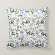 Retro Bicycle Pattern Throw Pillow