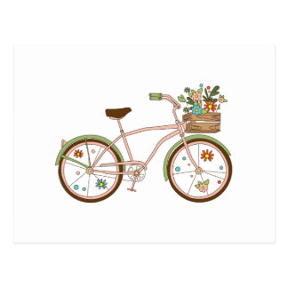 Retro bicycle with karzinkoy for flowers postcard