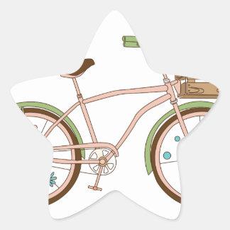Retro bicycle with karzinkoy for flowers star sticker