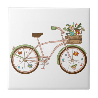 Retro bicycle with karzinkoy for flowers tile