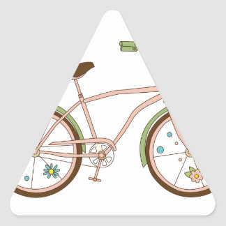 Retro bicycle with karzinkoy for flowers triangle sticker
