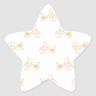 Retro Bicycles Motif Vintage Pattern Star Sticker