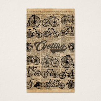 Retro Bicycles Vintage Illustration Dictionary Art Business Card