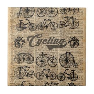 Retro Bicycles Vintage Illustration Dictionary Art Ceramic Tile