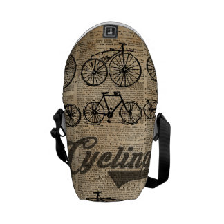 Retro Bicycles Vintage Illustration Dictionary Art Courier Bag