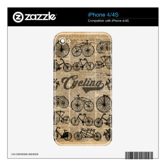 Retro Bicycles Vintage Illustration Dictionary Art Decals For The iPhone 4