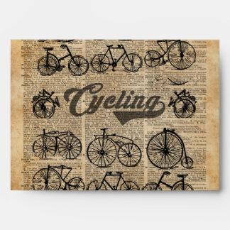 Retro Bicycles Vintage Illustration Dictionary Art Envelope