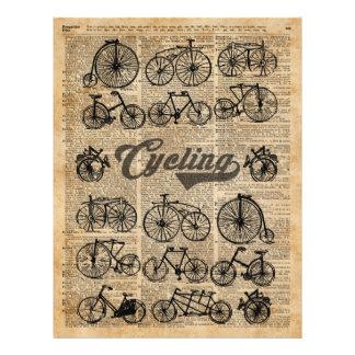 Retro Bicycles Vintage Illustration Dictionary Art Flyer