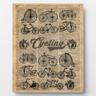 Retro Bicycles Vintage Illustration Dictionary Art Plaque