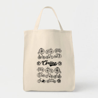 Retro Bicycles Vintage Illustration Dictionary Art Tote Bag