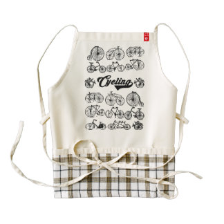 Retro Bicycles Vintage Illustration Dictionary Art Zazzle HEART Apron