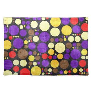 Retro Big Polka Dots   Abstract Art 2 Cloth Place Mat