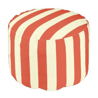 Retro Big Top Striped Round Pouf