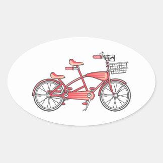 Retro Bike For Two Oval Sticker