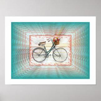 Retro Bike with Basket, Infinity Look Poster
