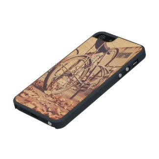 Retro bike wood phone case for iPhone SE/5/5s