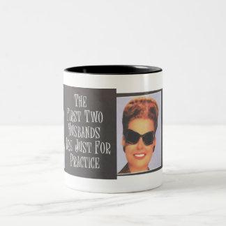 "RETRO BIMBO ""First Two Husbands are Practice"" Two-Tone Coffee Mug"