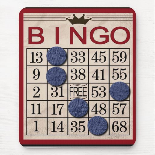 Retro Bingo Card Funny Mouse Pad