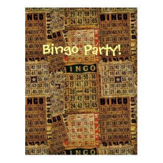 Retro Bingo Party  invitation-Postcard Postcard