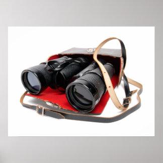Retro binoculars poster
