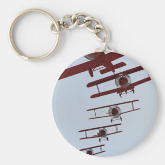Retro Biplane Basic Round Button Keychain