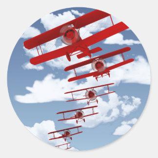 Retro Biplane Classic Round Sticker