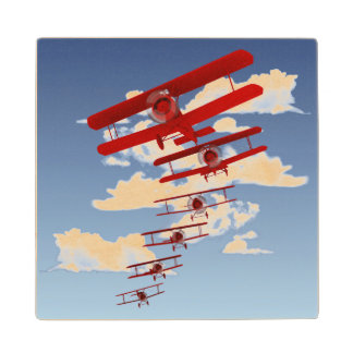 Retro Biplane Maple Wood Coaster