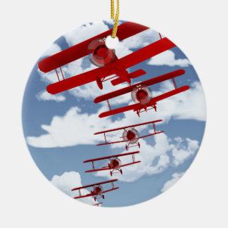 Retro Biplane Double-Sided Ceramic Round Christmas Ornament