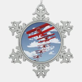 Retro Biplane Snowflake Pewter Christmas Ornament