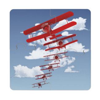 Retro Biplane Puzzle Coaster