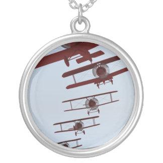 Retro Biplane Round Pendant Necklace