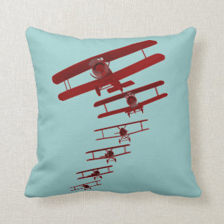 Retro Biplane Throw Pillow