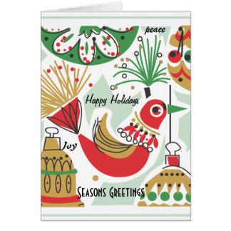 Retro Bird and Blubs Christmas Card