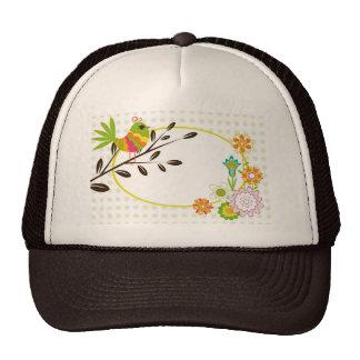 Retro Bird and Flowers Trucker Hat