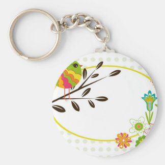 Retro Bird and Flowers Key Chains