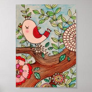 Retro bird, branch, and flowers print
