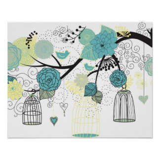 Retro bird cage and floral poster