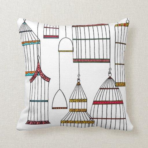 Retro Bird Cages Pillow
