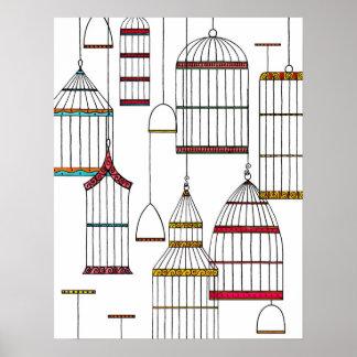 Retro Bird Cages Poster