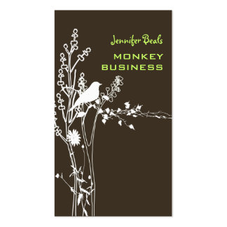 Retro bird on a branch + brown business card