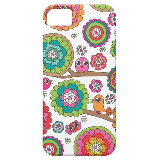 Retro bird pattern illustration iPhone SE/5/5s case