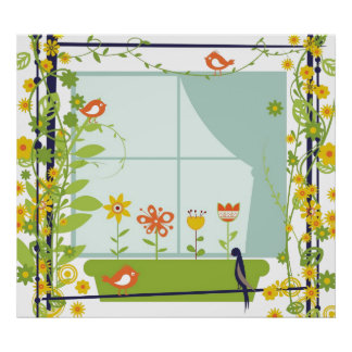 Retro birds and flowers Poster