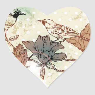Retro Birds Heart Sticker