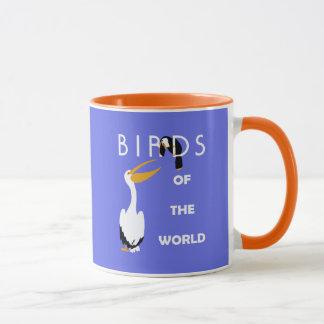 Retro birds of the world, pelican, toucan mug