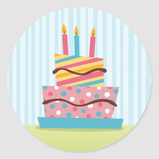 Retro birthday cake with lit candles classic round sticker
