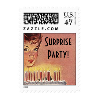Retro Birthday Gal Blowing Candles out Stamps