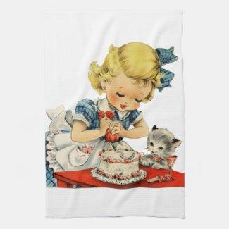 Retro Birthday Girl Cake Cat Artwork Kitchen Towel