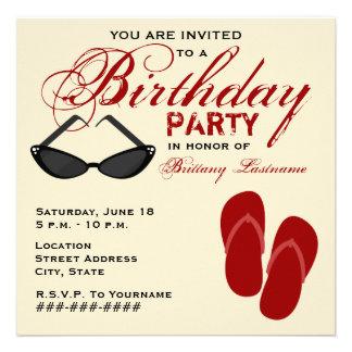 Retro Birthday Party Invite Flip Flops Sunglasses