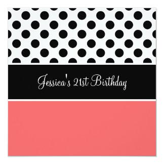 """Retro Birthday Party Peach Black & White Spots 5.25"""" Square Invitation Card"""