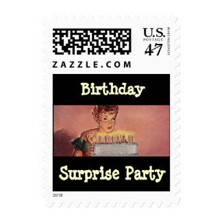 Retro Birthday Surprise party Cake Candles Stamp